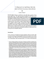 The Right to Equality in the Public Sector - An Assessment of Post-Colonial Hong Kong
