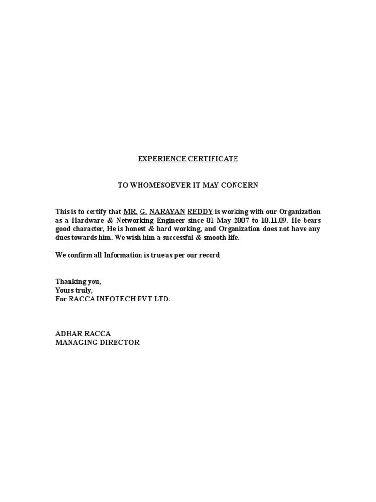 Doc Experience Certificate Format Letter Teaching Experience – Experience Certificate Formats
