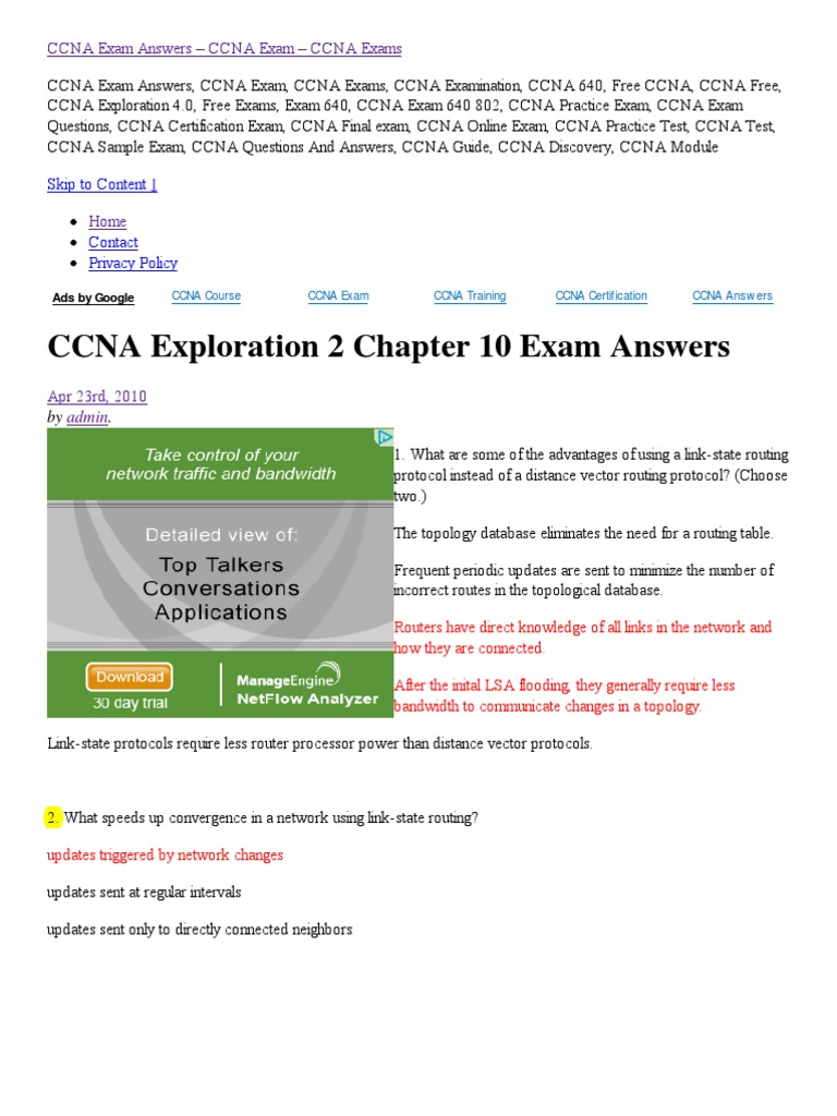 Ccna Exploration 2 Chapter 10 Exam Answers Routing Router