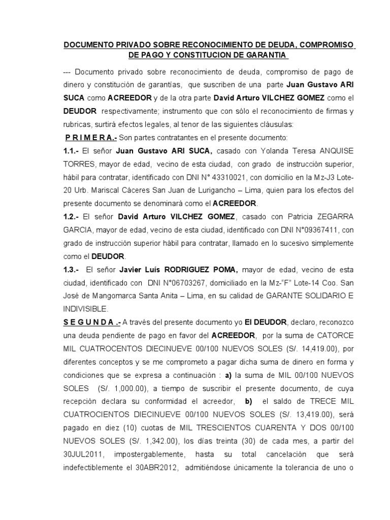 Documento privado sobre reconocimiento de deuda for Modelo acuerdo extrajudicial clausula suelo