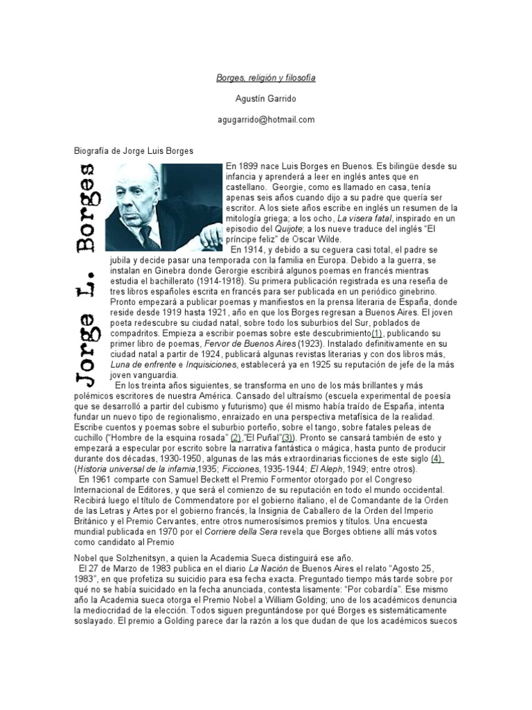 list borges essays But borges' essay, without ever making too explicit its canny playfulness,  the  feebleness of this epic is described in a kind of list poem that.