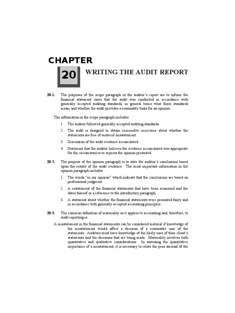 Chapter20 - Answer | Financial Audit | Auditor's Report