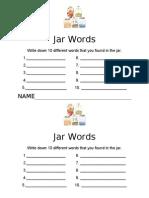Find the Words in the Jar Worksheet