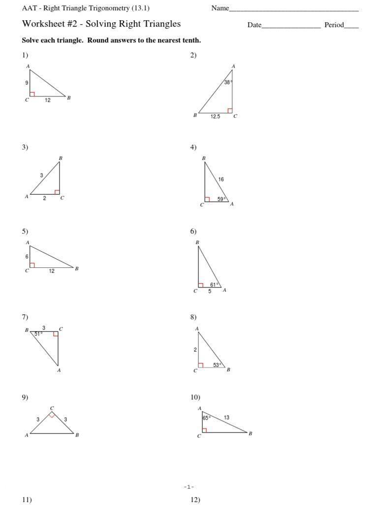 Worksheet Solving Right Triangles Worksheet section 13 1 right triangle trigonometry solving triangles worksheet 2