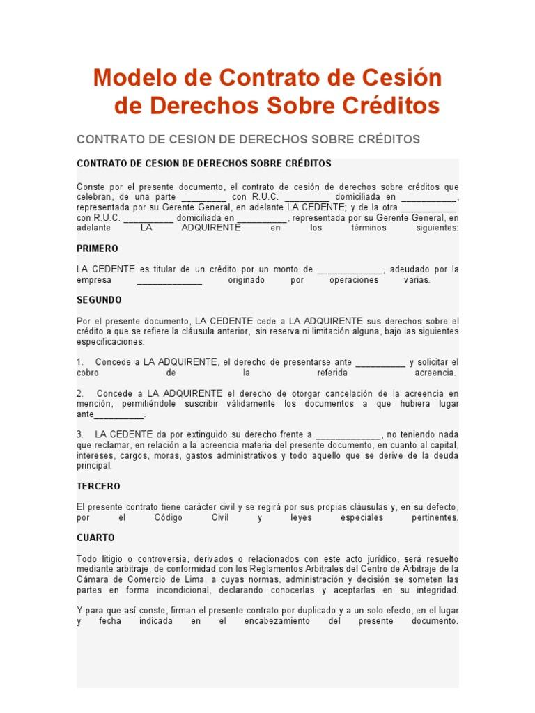 Modelo de contrato de cesi n de derechos sobre cr ditos for Contrato de hipoteca