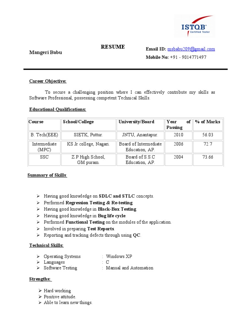 Software Tester Resume Format Zrom