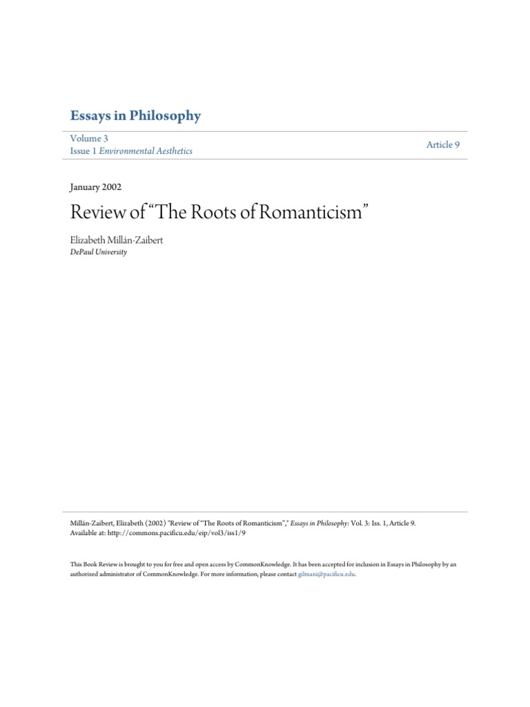 review of the roots of romanticism essays in philosophy