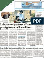I ricercatori portano all'Ateneo prestigio e un milione di euro - Il Resto del Carlino del 27 agosto 2011