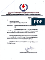 UNFC- United Nationalities Federal Council - Chairperson Letter