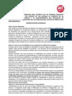 OBSERVACIONES AL BORRADOR REAL DECRETO LEY DE MEDIDAS URGENTES