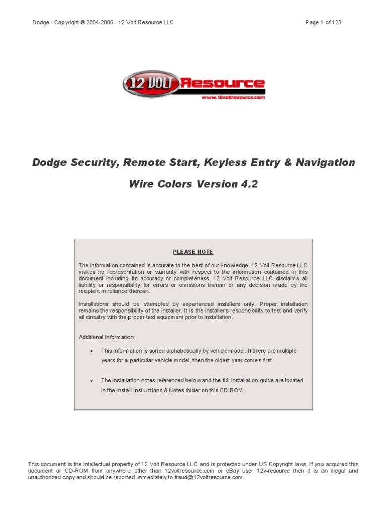 Dodge - Alarm & Remote Start Wiring - Copyright © 2004-2006