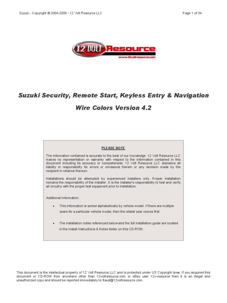 Suzuki Alarm Remote Start Wiring Copyright 2004 2006 12 Saab Diagram Volt Resource Llc Automotive Industry Color