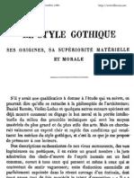 Revue Du Monde Catholique - Le Style Gothique