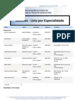Médicos UNIMED-BSB - Lista por Especialidade