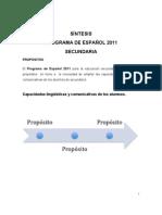 programa de español 2011 sintesis