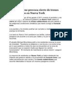 Huracán Irene provoca cierre de trenes subterráneos en Nueva York
