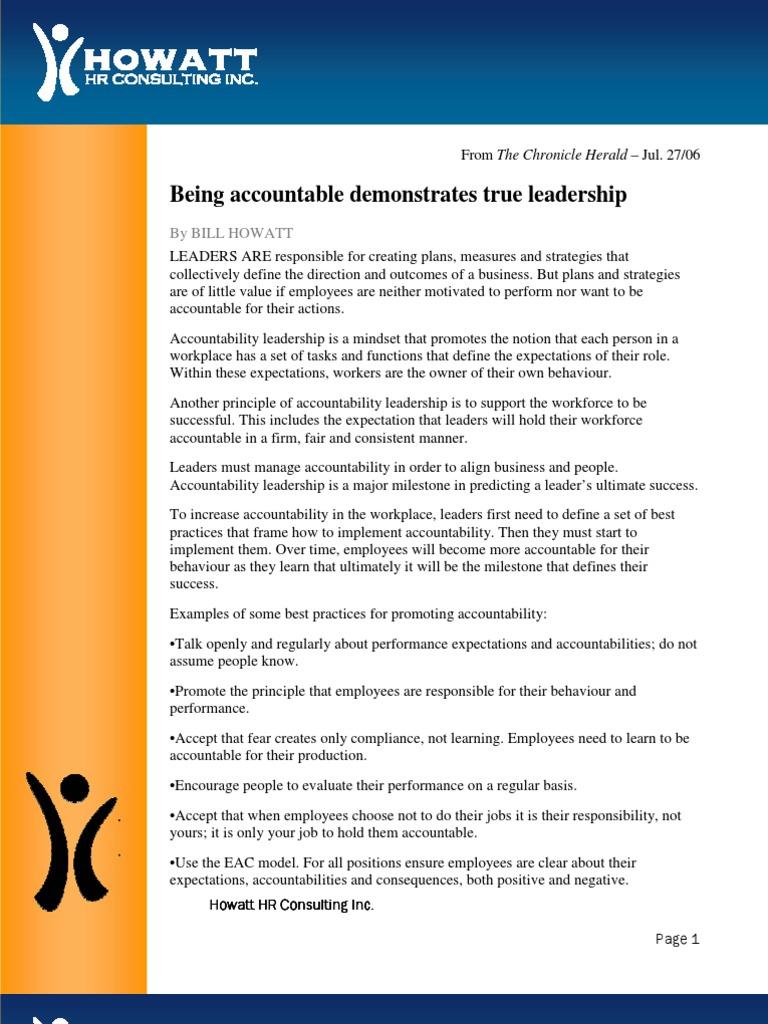 Being Accountable Demonstrates True Leadership   Accountability   Leadership  & Mentoring