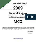 6th Year Final MCQ General Surgery 2009