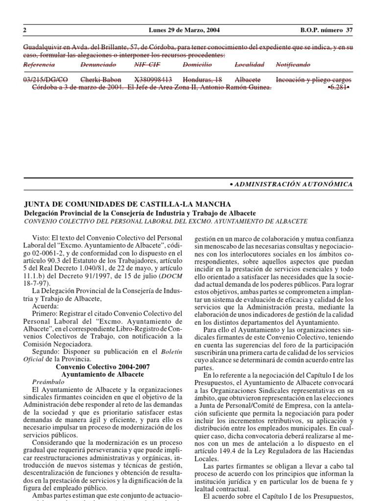 Convenio Colectivo Ayuntamiento Albacete