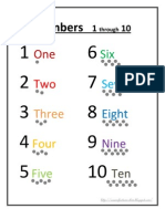 Number Word Chart