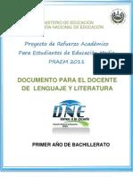 Actividades de Refuerzo  - Lenguaje y Literatura - Segunda Prueba de Avance - Primer Año (PRAEM 2011)