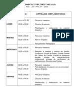 horario de Inicial, primero y segundo año