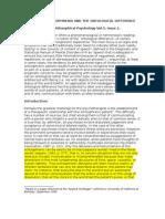 Sass - Heidegger Schizophrenia and the Ontological Difference