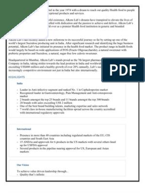 Alkem Introduction | Food And Drug Administration | Generic Drug