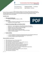 Communication Center Rep Job Description 8-30-2011