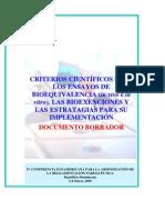 CRITERIOS CIENTÍFICOS PARA LOS ENSAYOS DE BIOEQUIVALENCIA
