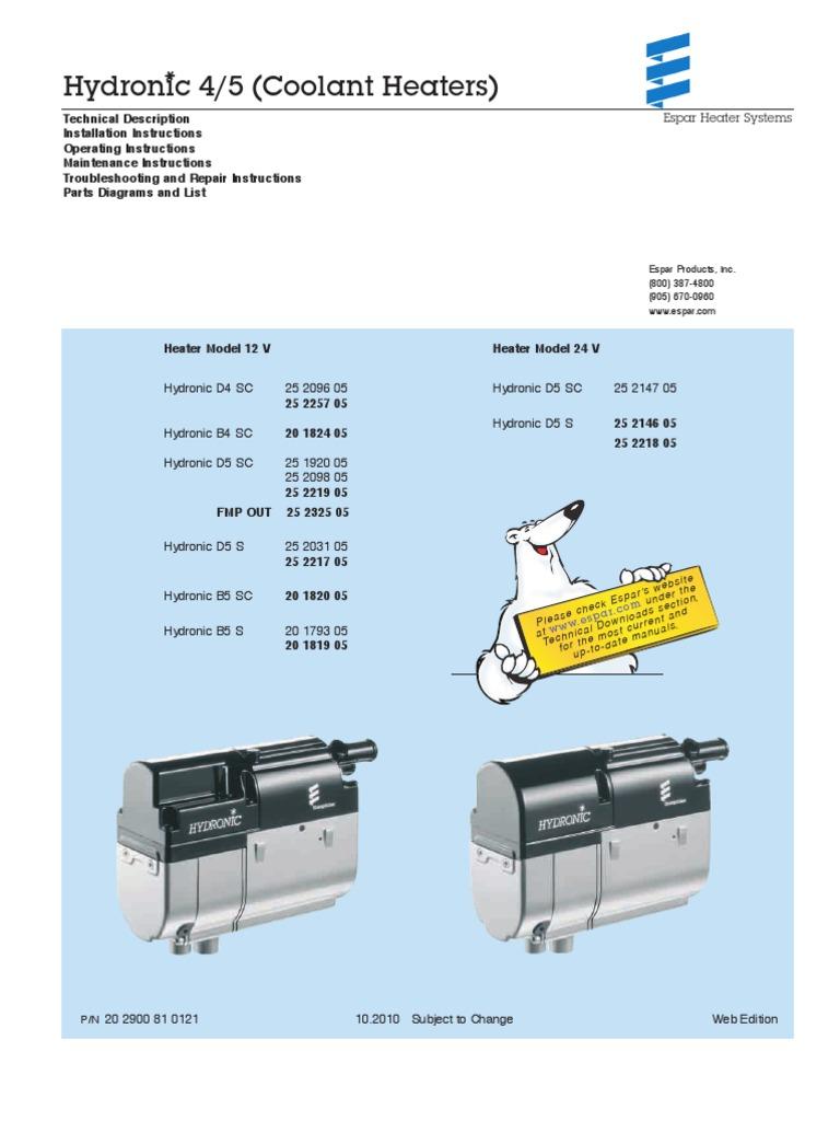 Hydronic 4 5 Td Ts Parts 10 2010 Espar Hvac Pump