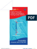 SWT South West Trains Brighton/Portsmouth, Fareham and Eastleigh to Reading/London Waterloo Train Times Timetable