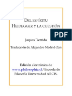 Del Espíritu, Derrida
