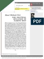 """Conexion en Jstor a Lectura """"The Political Situation in Puerto Rico"""""""