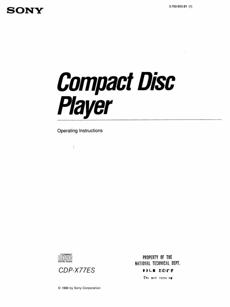 Sony CDP-X77ES Owners Manual