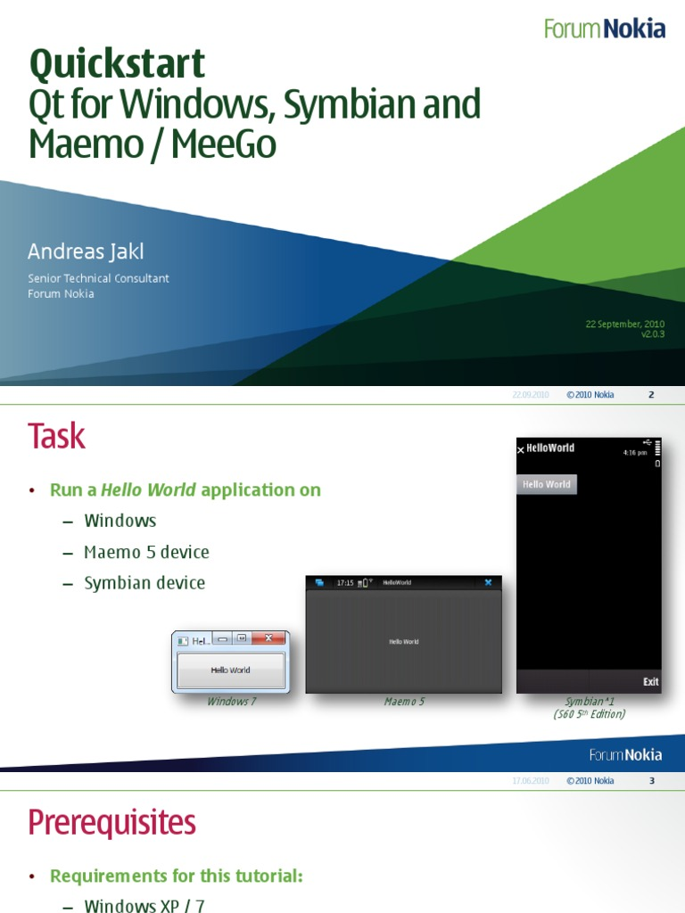 Quick Start Qt for Windows, Symbian and Maemo MeeGo