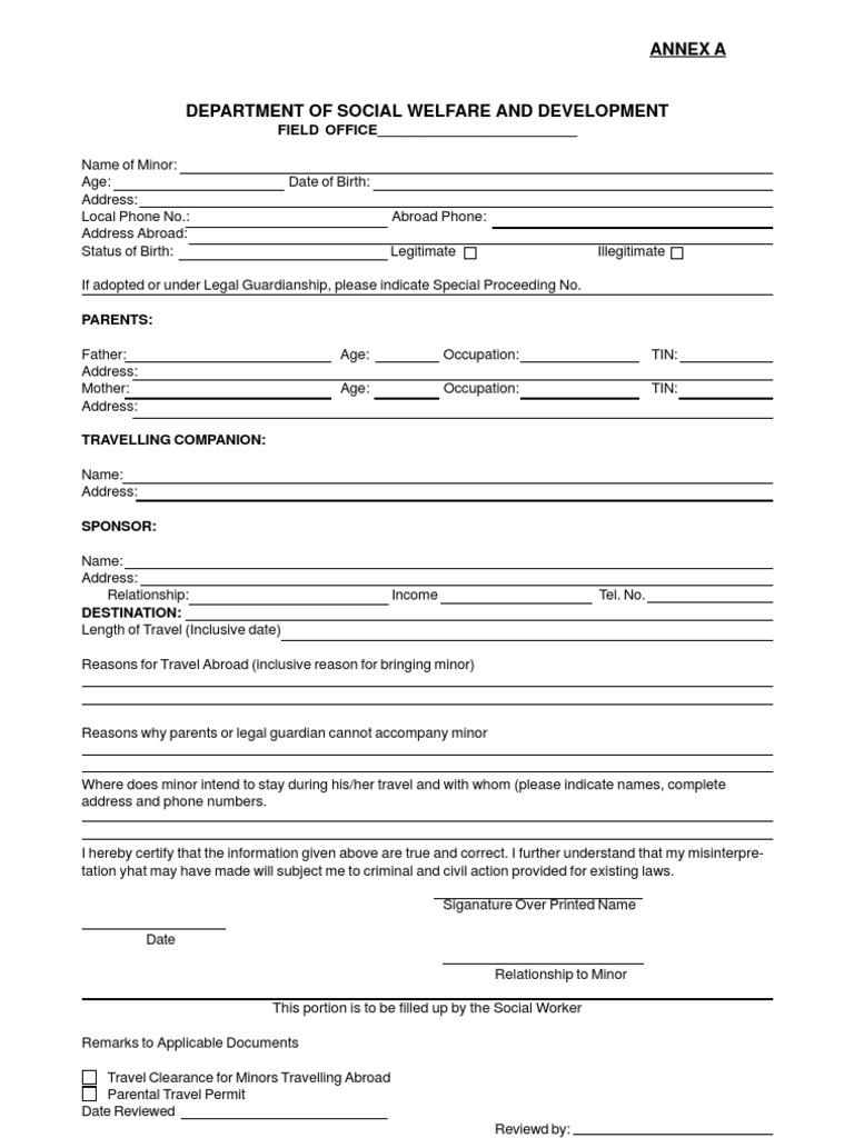 Dswd forms for minors travelling abroad affidavit parent altavistaventures Image collections