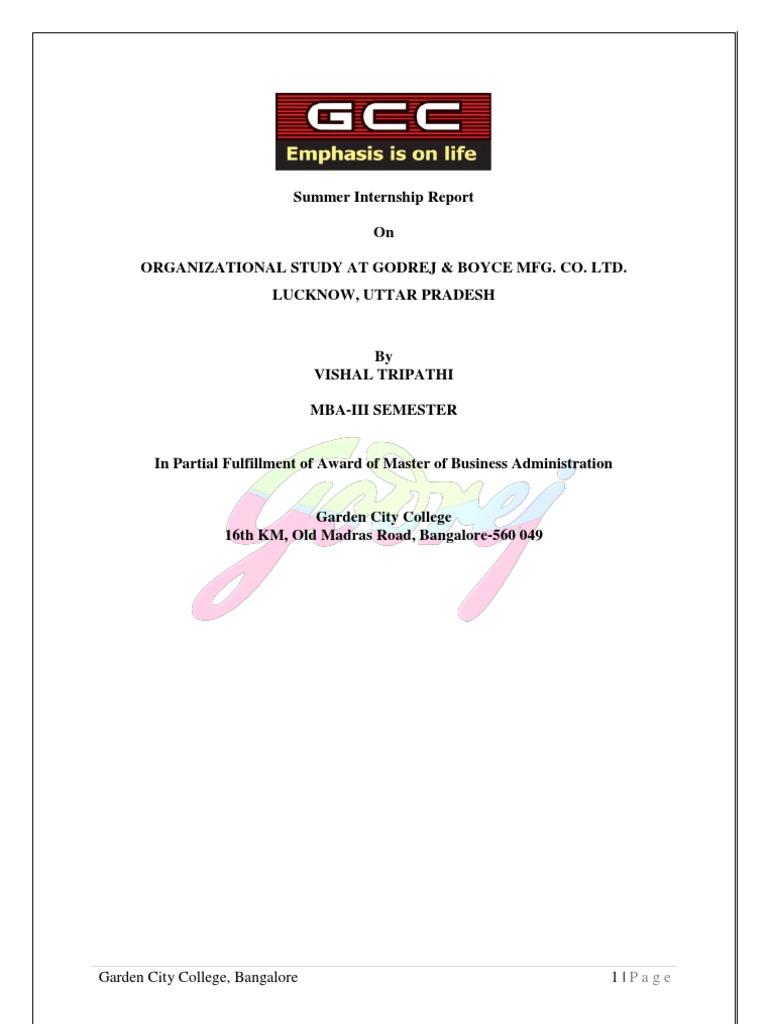 Internship report on godrej | College paper Sample