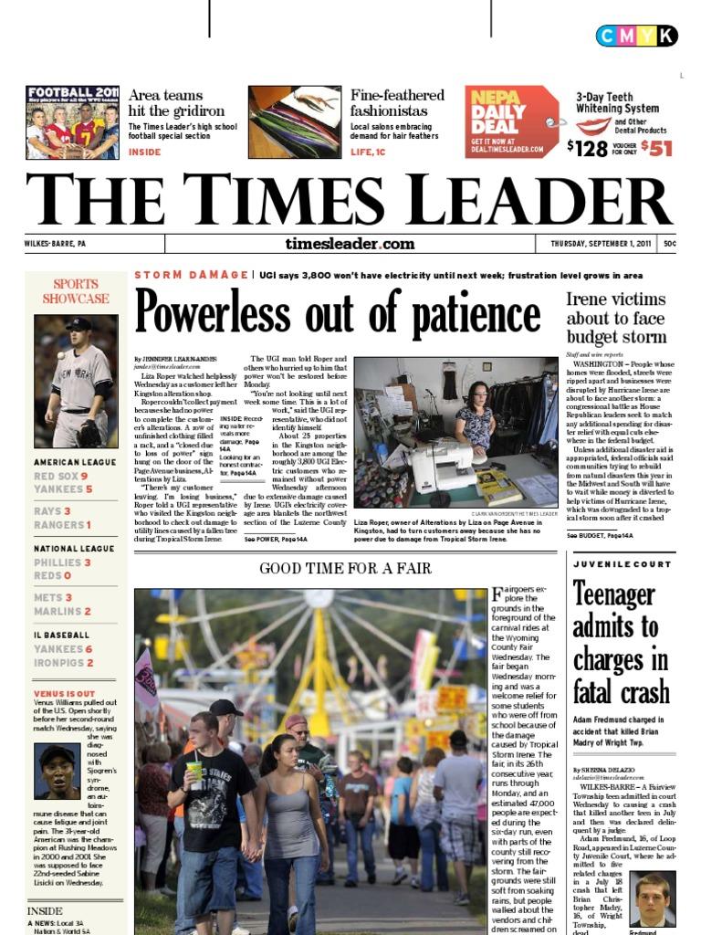 Times Leader 09 01 2011 Wilkes Barre Powerball Catriona Devon Backpack Black