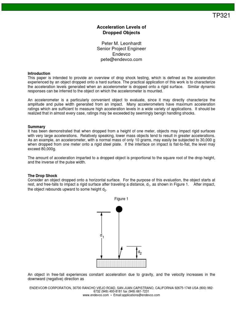 Tp321 Acceleration Of Dropped Objects Accelerometer Analog To Shock Sensor Amplifier Digital Converter