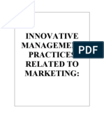 Innovative Management Practices Related to Marketing