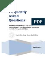 Pain Management Clinic FAQ Rule 4731-29-01 - August 2011
