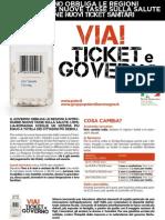 """Pieghevole """"Via! i ticket e il governo!"""""""