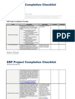 ERP Project Completion Checklist