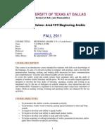 UT Dallas Syllabus for arab1311.501.11f taught by Zafar Anjum (zxa110730)