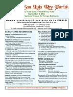 MSLRP Bulletin for September 4, 2011