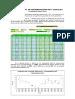 Resumen Mensual de Observaciones Solares - Agosto 2011