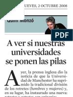 Quim Monzó. a Ver Si Nuestras Universidades Se Ponen Las Pilas