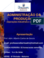 Apresentação da Administração da Produção I - Modulo 1 - Fase Introdução - Unicamps