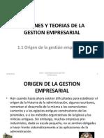 ORÍGENES Y TEORIAS DE LA GESTION EMPRESARIAL